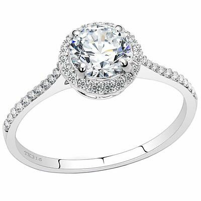 7x7mm Clear Round CZ Center Set in Stainless Steel Delicate Ring SZ 5-9