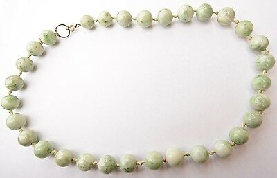 Vintage Estate Green and White Chinese Mottling Jade Necklace  130 grams