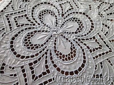 "Incredible Antique Handmade LACE TABLECLOTH Coverlet  90x70""Cutwork Embroidery"