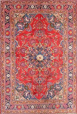 """Deal Traditional Floral Red 7x10 Mashad Persian Oriental Area Rug 9' 7"""" x 6' 7"""""""