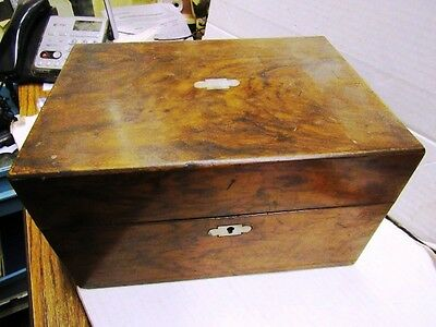 1850's Burled Walnut? Dresser Box With Interior,provenence And Letter Dated 1860