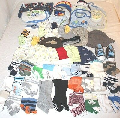 Huge Lot 0-3 Month Boys Accesory Lot Socks Hats Mittens Bibs 64 Items