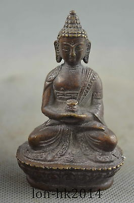 Collectible Handwork Old Copper Carve Buddha Sit Lotus Buddhism Exorcism Statue
