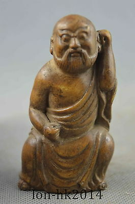 Collectible Handwork Old Alabaster Carving Humor Buddha Noble Auspicious Statue