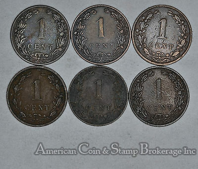 Netherlands 1 Cent 1900 1901 1902 1905 1906 1907 6 Coin Lot Nice Group