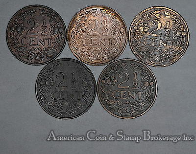 Netherlands 2 1/2 Cents 1915 1916 1918 1929 1941 bronze 5 Coin lot Nice