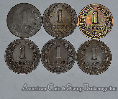Netherlands 1 Cent 1877 1878 1880 1881 1882 1883 6 Coin Lot Nice Group