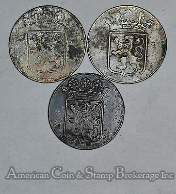 Netherlands-Holland 1 Duit 1750 1780 1789 copper 3 Coin Lot Nice Group