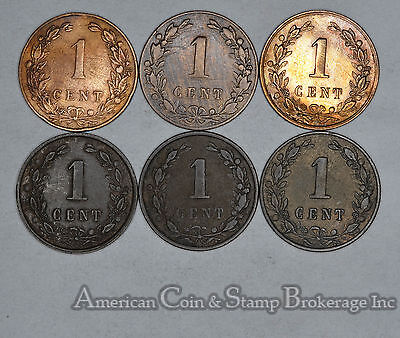 Netherlands 1 Cent 1878 1880 1883 1900 1901 1902 6 Coin Lot Nice Group