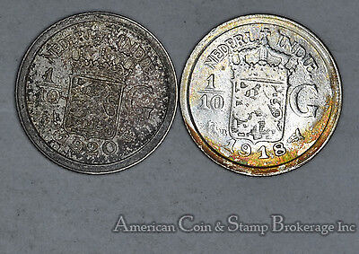 Netherlands East Indies 1/10 Gulden 1918 1920 silver 2 Coin Lot Gold Tones
