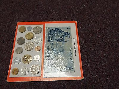 Set Of 15 Israeli Coins + 1 Israeli Currency -  From Holy land Carded