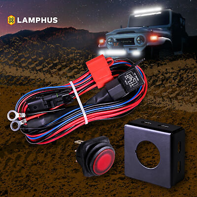 40 off road atv jeep led light bar wiring harness relay on off  off road atv jeep led light bar wiring harness heavy duty 12awg 40