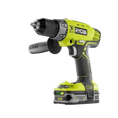Ryobi ONE+ 18-Volt Lithium-Ion Cordless Hammer Drill Kit -Green (P1812)