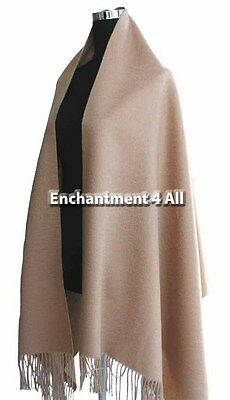 """New Large 28""""X80"""" 100% Pure 4Ply Cashmere Women Shawl Wrap Scarf Soft Warm Camel"""