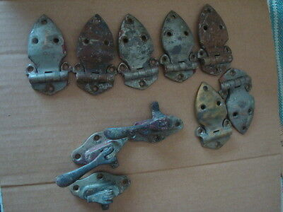 ANTIQUE WOOD and metal casters ICE BOX BRASS 2 DOOR LATCH and HINGES parts