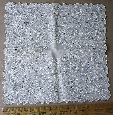 Needle Lace Finely Floral Embroidered Handkerchief Hankie With Filling Stitches