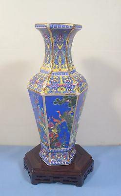 Rare vintage Chinese famille rose vase wood stand 6 panels hand paint birds