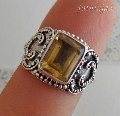 Citrine Solid Silver, 925 Balinese Traditional Design Ring 35997
