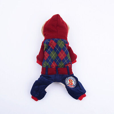 Pet Dog Clothes Apparel Hoodie Winter Warm Coat Red Jumpsuit Pants Outfit XXL