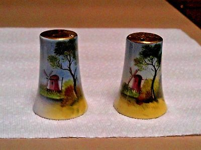 Antique Porcelain Salt And Pepper Shakers Hand Painted Windmill Scene Cork Botto