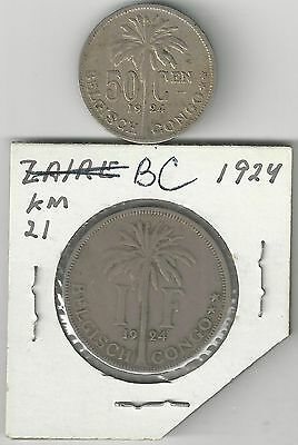 xx From Accumulation - 2 OLDER COINS.BELGIAN CONGO.50c & 1 FRANC.BOTH 1924