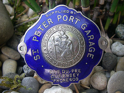 vintage ST. PETER PORT GARAGE GUERNSEY SANKT CHRISTOPHER enamel Car Badge