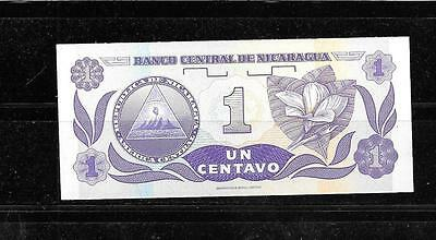 NICARAGUA #167a 1991 UNC ONE CENTAVOS OLD BANKNOTE NOTE CURRENCY PAPER MONEY