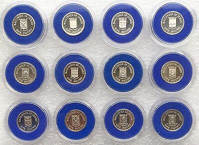 1983 - 1989 One Pound £1 Coins Jersey Set Of Parishes Silver Proof Complete Set