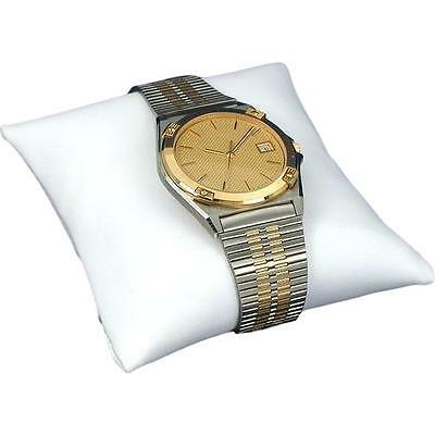 New White Faux Leather Bracelet & Watch Pillow Display