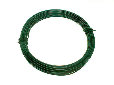 10pk X Green Plastic Coated Garden Fence Wire 2 Mm X 1.4 Mm x 15M (roll)