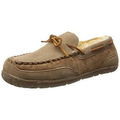 Old Friend 1939 Mens Camp Suede Sheepskin Lined Moccasin Slippers BHFO