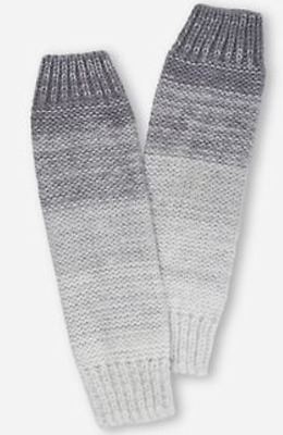 Brand New - Justice Girl's Gray Knit Metallic Popcorn Leg Warmers NWT 1 Pair