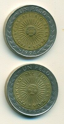2 BI-METAL 1 PESO COINS from ARGENTINA DATING 1994 & 1995