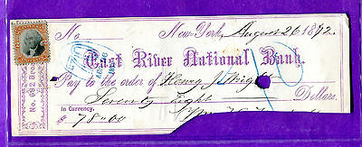 1872 New York New York - East River National bank Check - Revenue