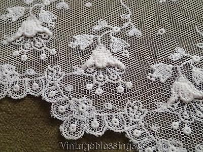 Antique French Net Lace Embroidered Floral Flounce ~ Doll Dress Perfect
