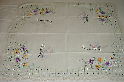 """Vintage Linen Tablecloth 35"""" Square Hand Embroidered Flowers Crochet Lace Trim"""