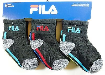 6 Pairs Boys Girls Fila Toddlers Infant Multicolor Cotton Socks Size 12-18M F446