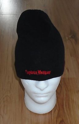 Captain Morgan Branded Winter Touque Black With Red Stripes And Red Lettering
