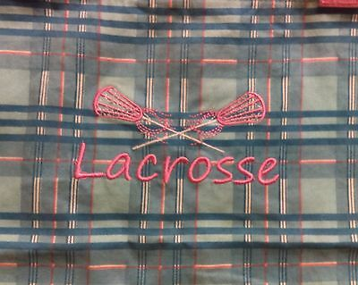 Pink And Blue Plaid Embroidered Lacrosse Girls Tote By Great Republic