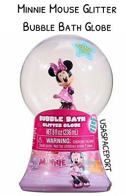 New Disney MINNIE MOUSE Glitter BUBBLE BATH Water Snow Globe Girls Gift 8oz Soap