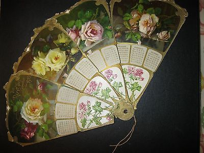 1910 Antique VTG The ROSE Fan and Calendar Paper Victorian Trade Card 23