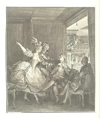 Romance IN THE OPERA BOX MUSIC Antique Versailles Etching Art Print