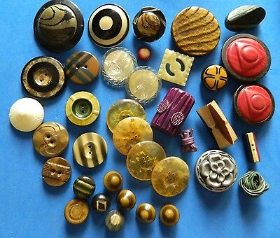LARGE LOT Mixed Design CELLULOID Buttons EXTRUDED Colorful BLACK w IVORY Shapes+