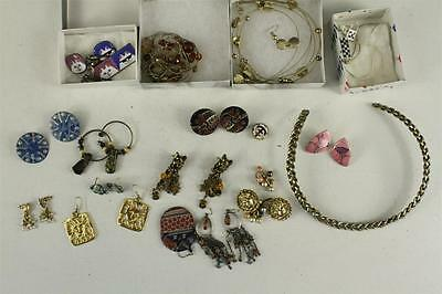 Vintage & Modern Costume Jewelry Variety Lot Metal Necklaces Torc Earrings Pins