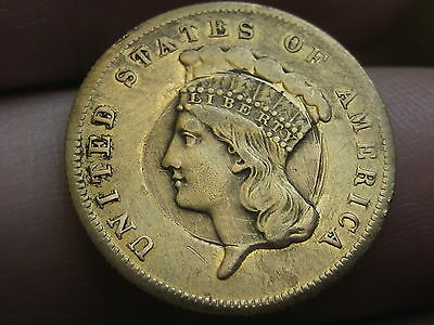 1878 $3 Gold Indian Princess Three Dollar Coin- VF Obverse Details