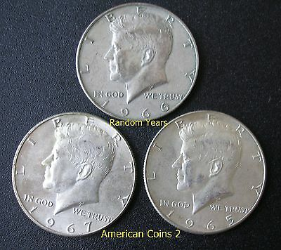 LOT OF THREE  Coins RANDOM YEARS 50 Cent 40% Silver KENNEDY