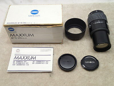 Minolta 70-210mm AF Long Zoom Lens for Maxxum & Sony Alpha DSLR with Hood Box