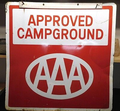 "Vintage Large 28"" x 28"" AAA 'Approved Campground' Double-Sided Metal Sign"