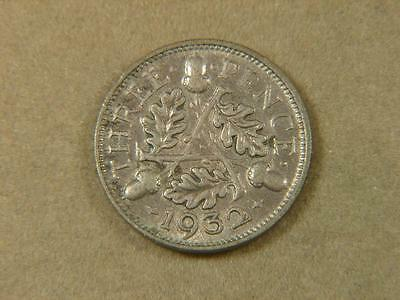 1932 Great Britain 3 Pence Silver Coin