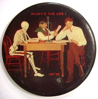 """Rare Mirror - """"What's The Use"""" Accountant & 2 men at a table. One is a SKELETON"""